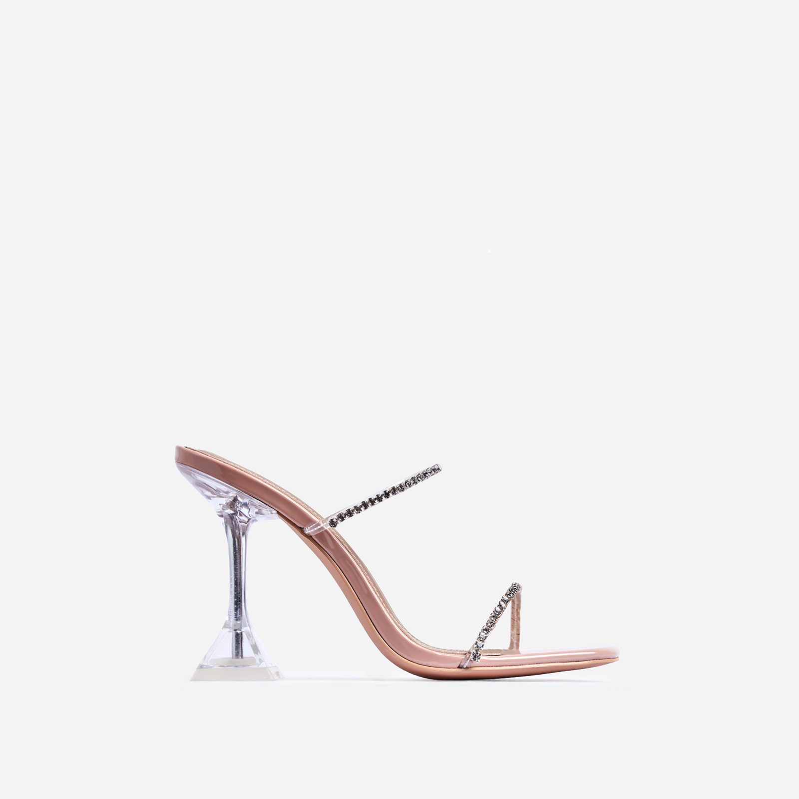 Dreams Diamante Detail Pyramid Heel Mule In Nude Patent