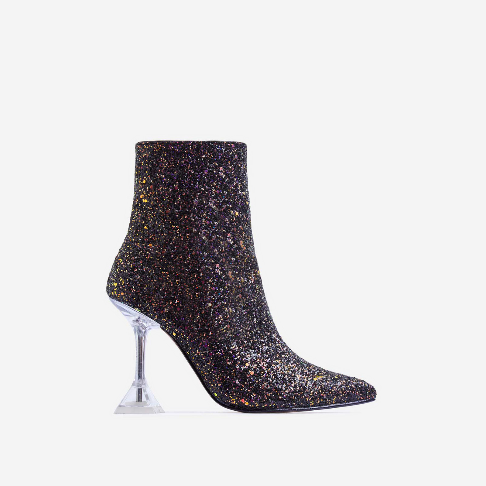 Bacardi Perspex Pyramid Heel Ankle Boot In Black Glitter