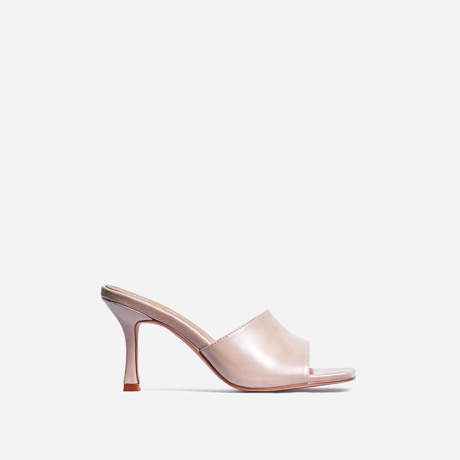 Hilton Square Peep Toe Kitten Heel Mule In Nude Faux Leather