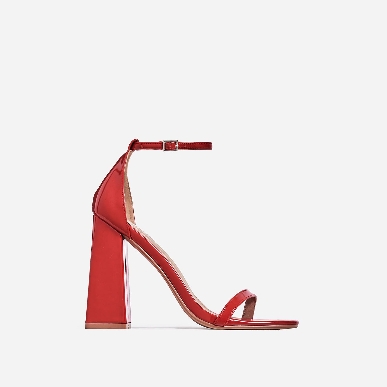 Atomic Square Block Heel In Red Patent