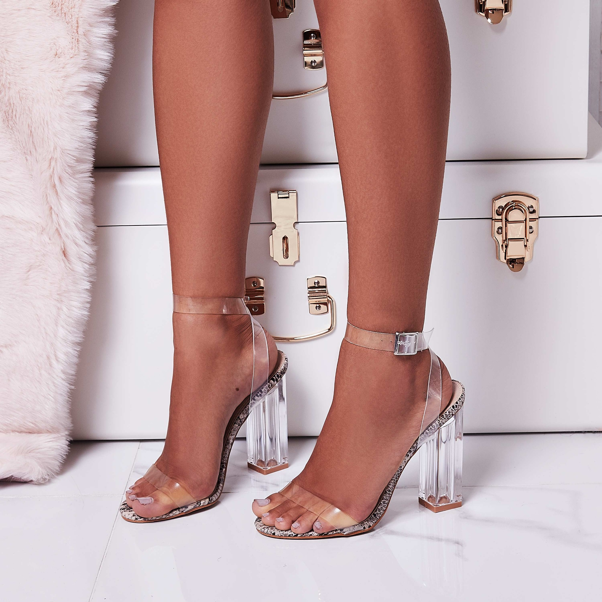 Mercie Barely There Perspex Block Heel In Snake Print Faux Leather