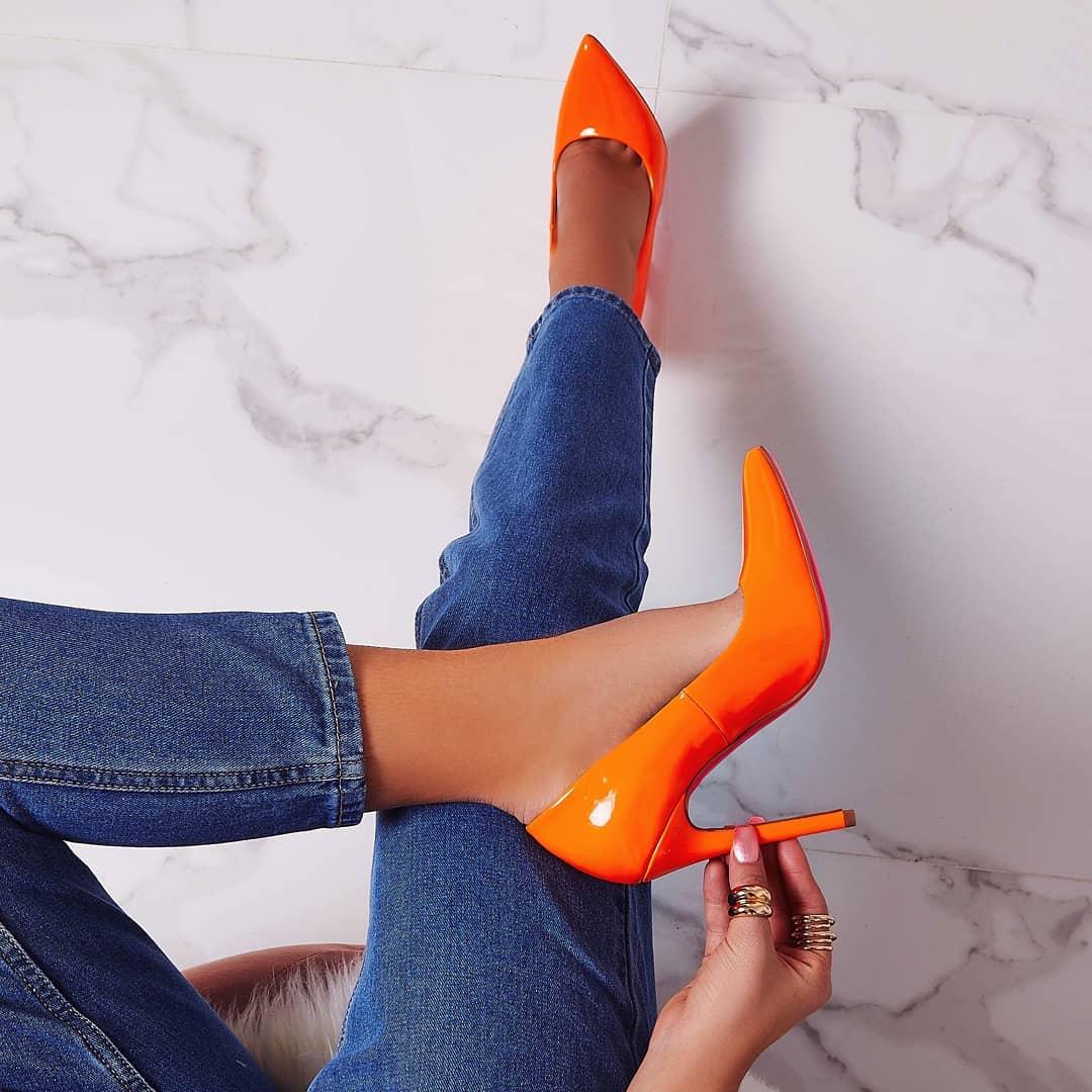 Bronte Court Heel In Neon Orange Patent