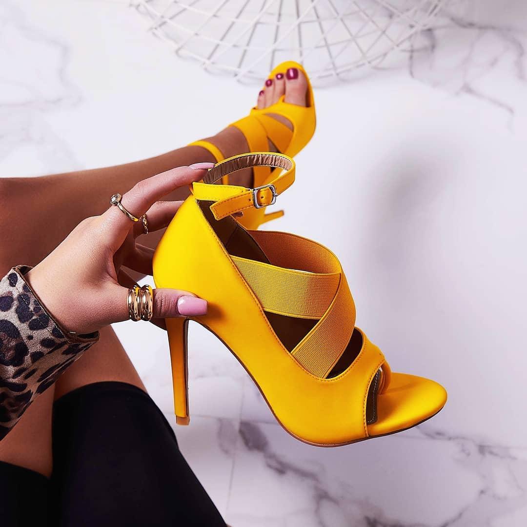 Yara Caged Elasticated Peep Toe Heel In Yellow Lycra