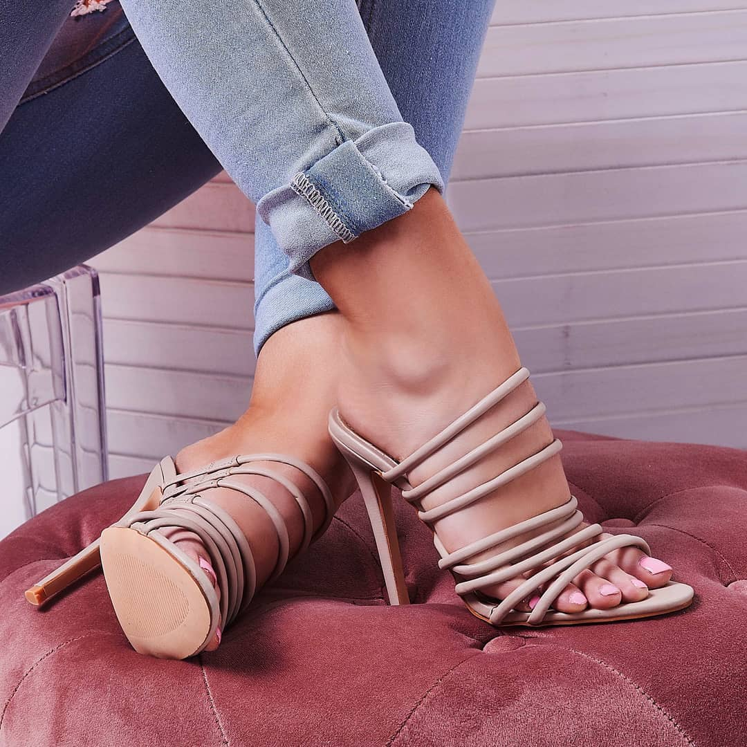 Saffiyah Strap Detail Heel Mule In Nude Faux Leather