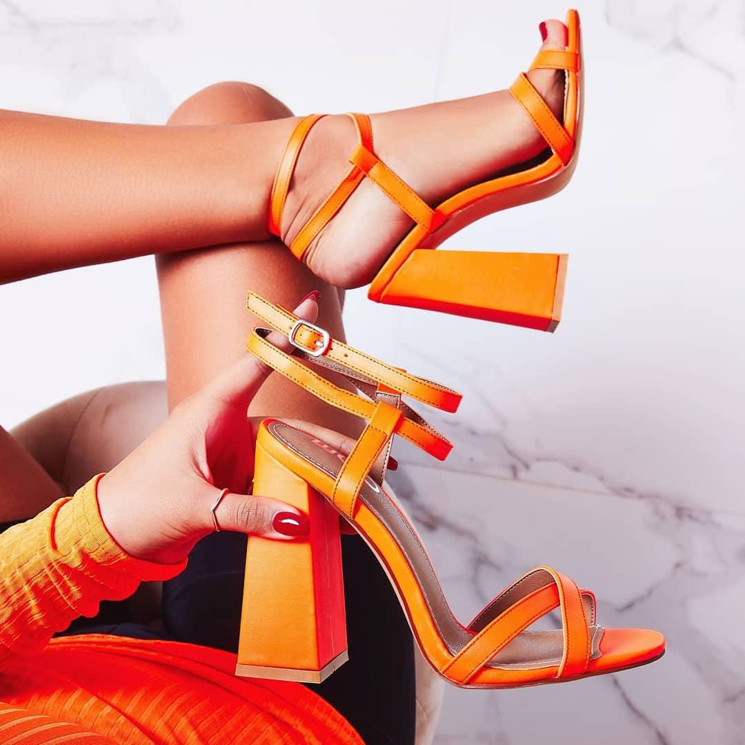 Iris Flared Block Heel In Neon Orange Faux Leather