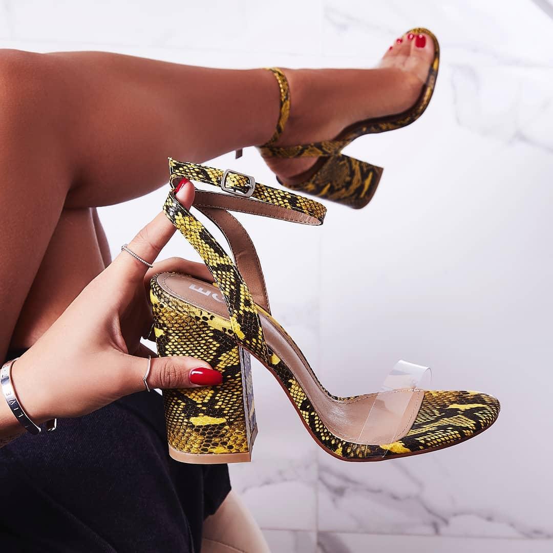 Nikita Perspex Block Heel In Yellow Snake Print Faux Leather