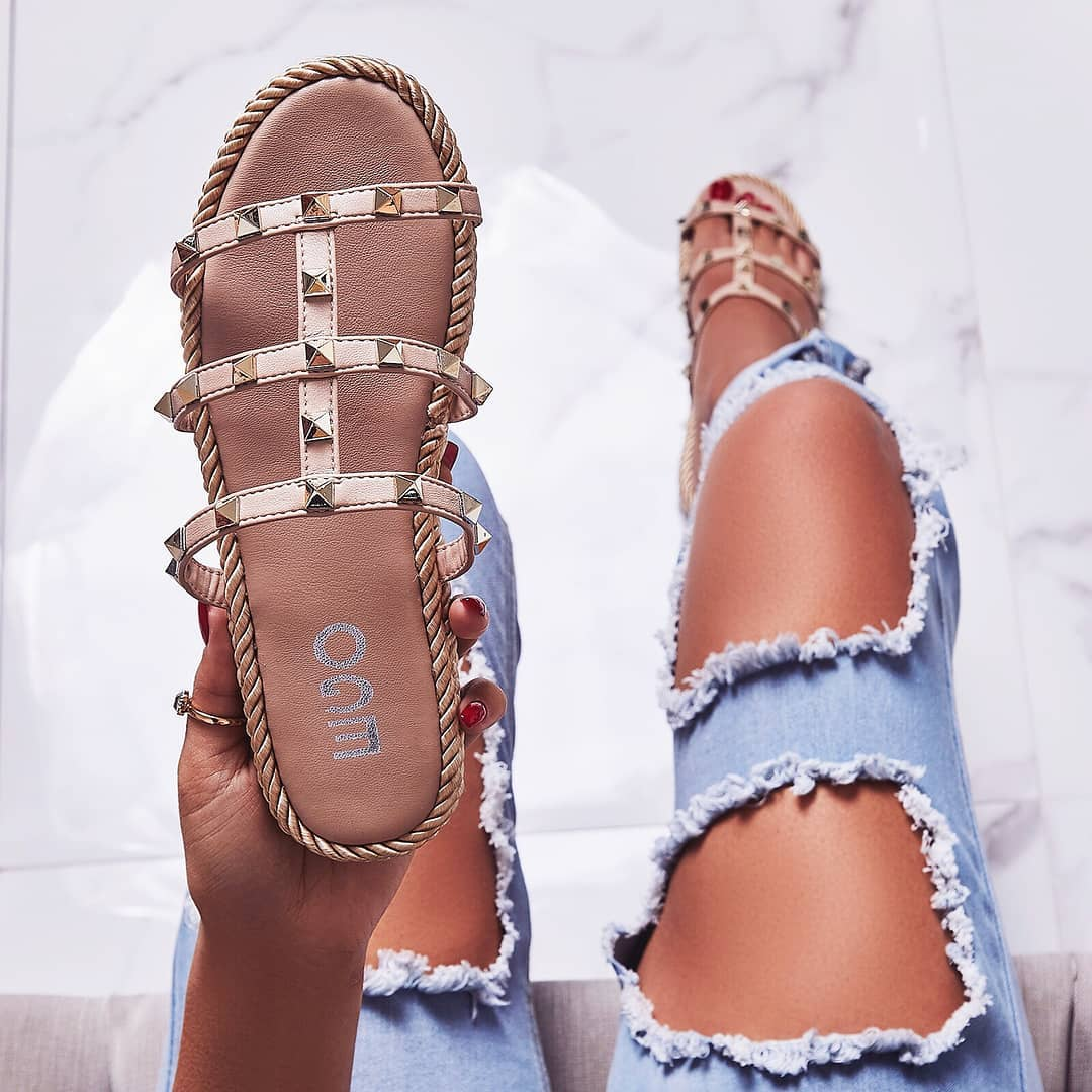 Apollo Studded Detail Rope Espadrille Sandal In Nude Faux Leather