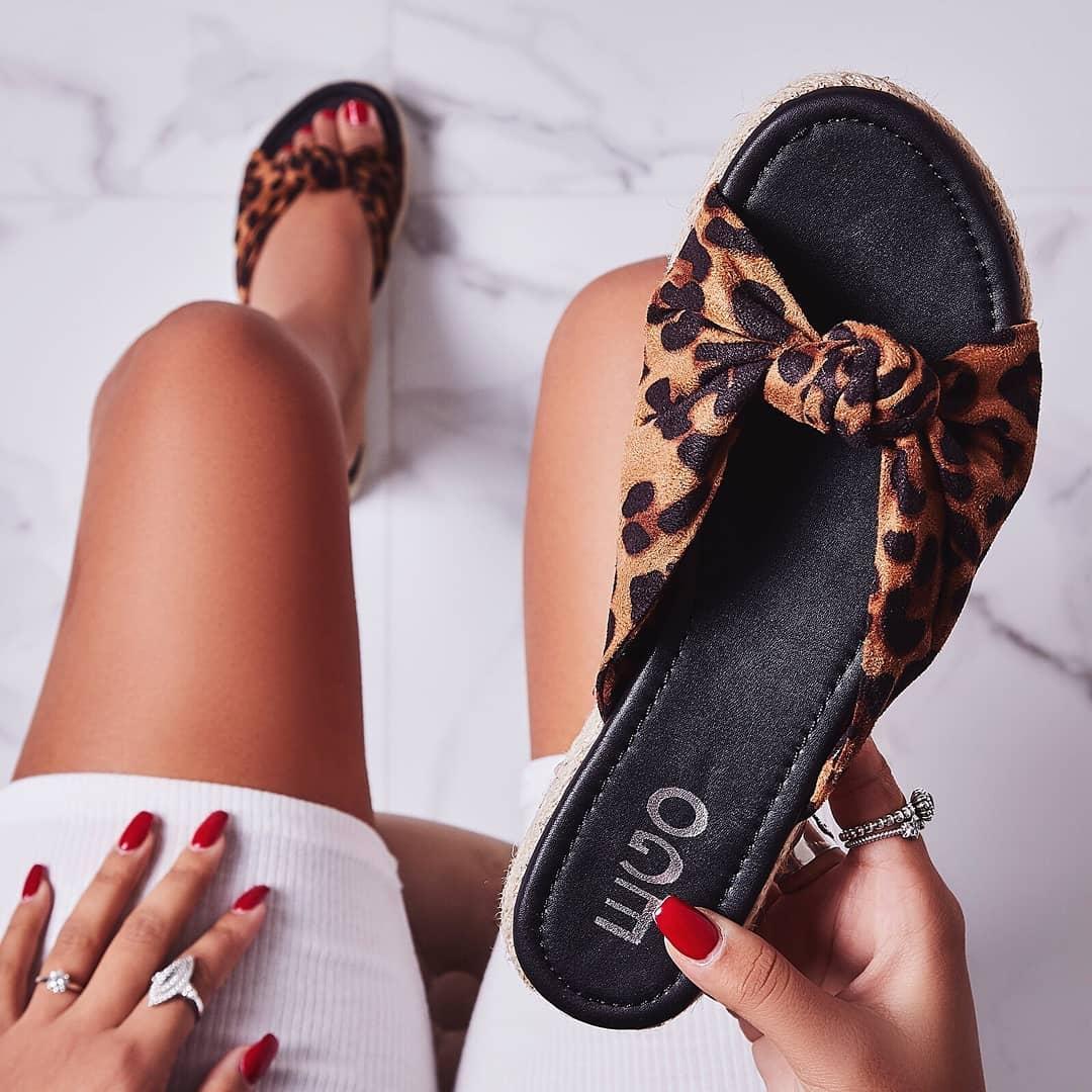 Birdy Bow Detail Espadrille Sandal In Tan Leopard Print Faux Suede