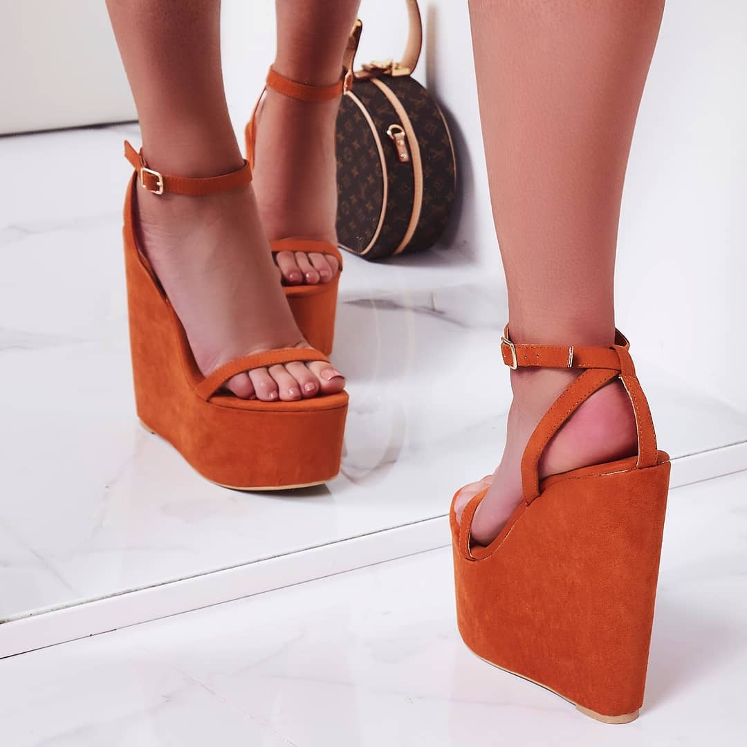 Sunlight Wedge Platform Heel In Orange Faux Suede