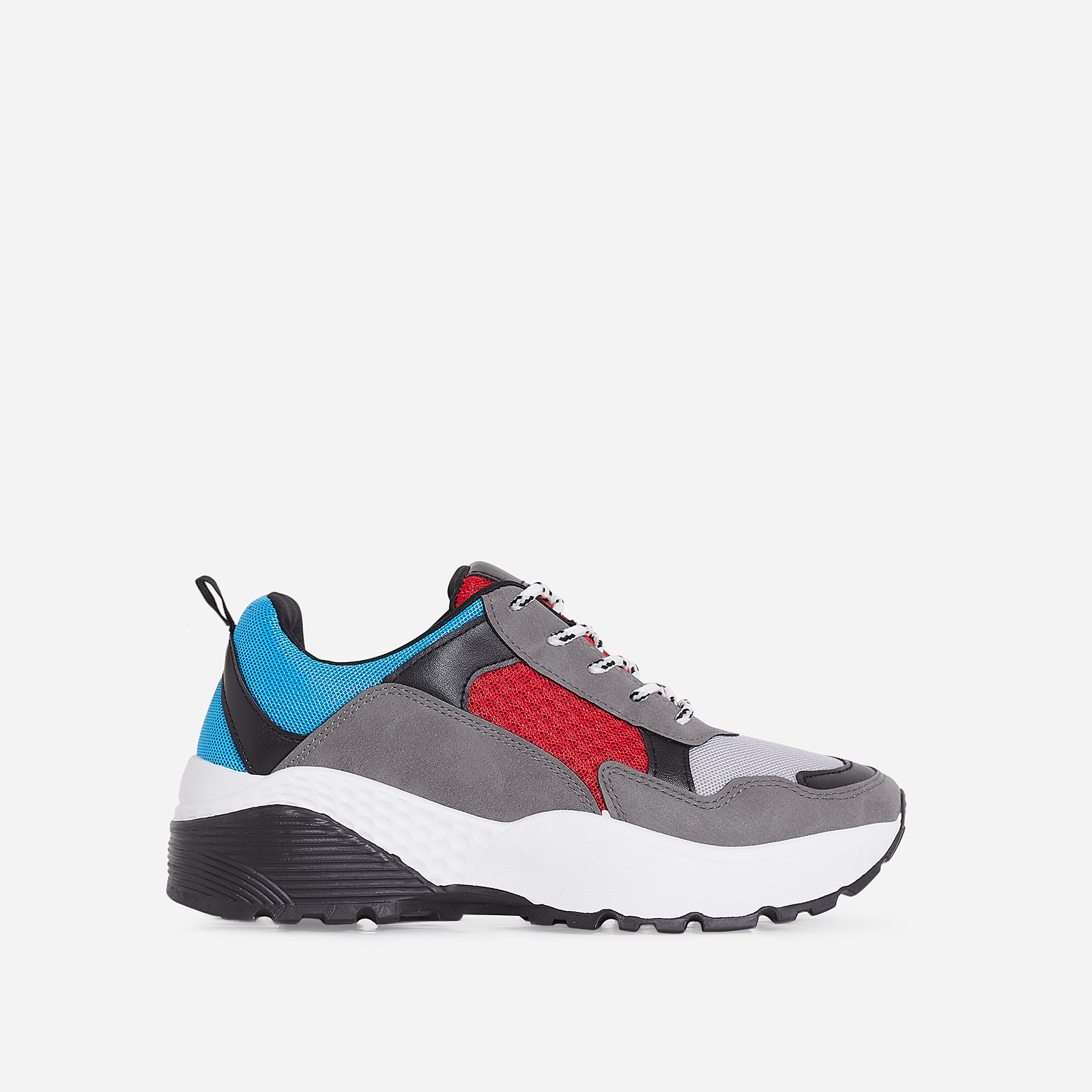 Alpha Chunky Sole Trainer In Blue And Red