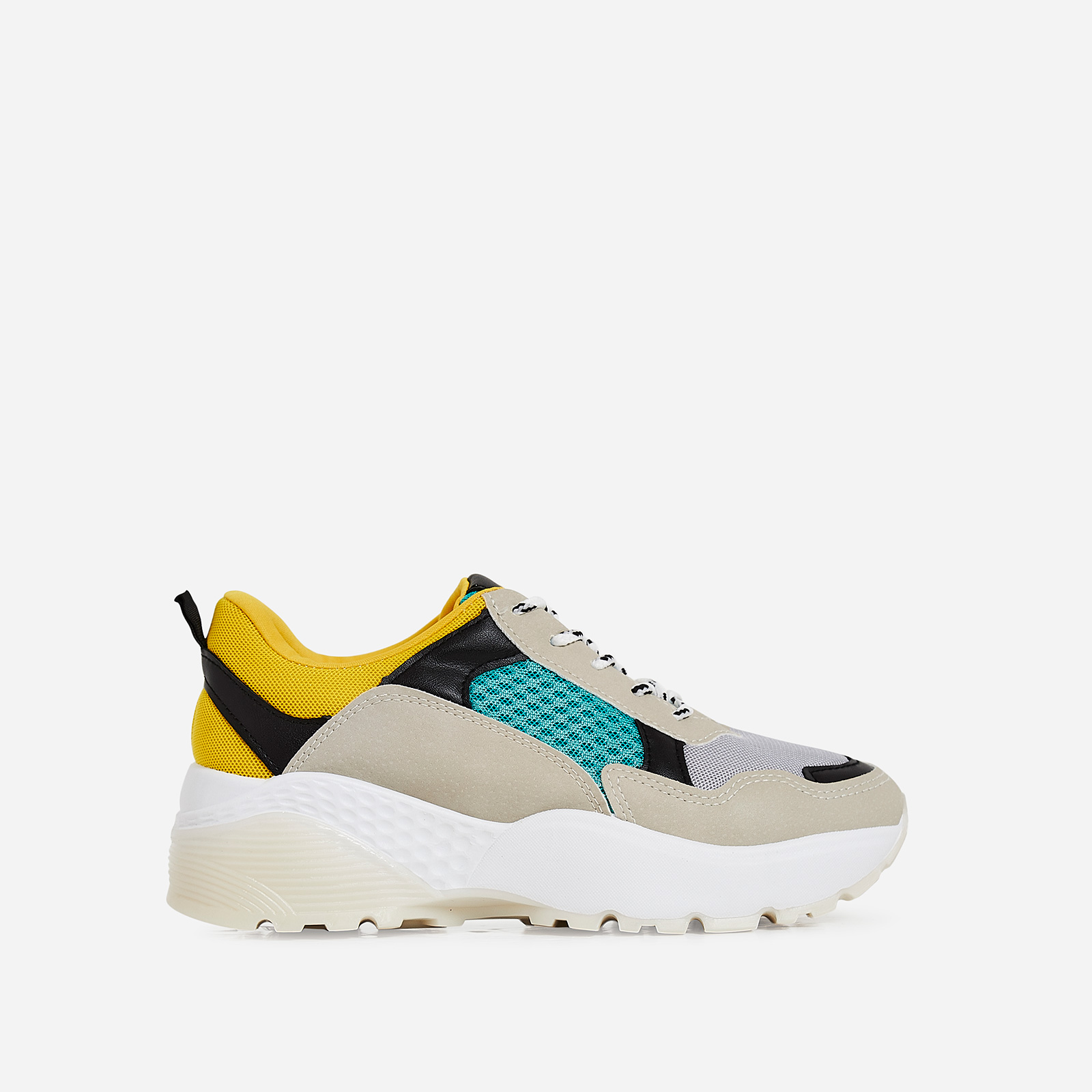 Alpha Chunky Sole Trainer In Green And Yellow