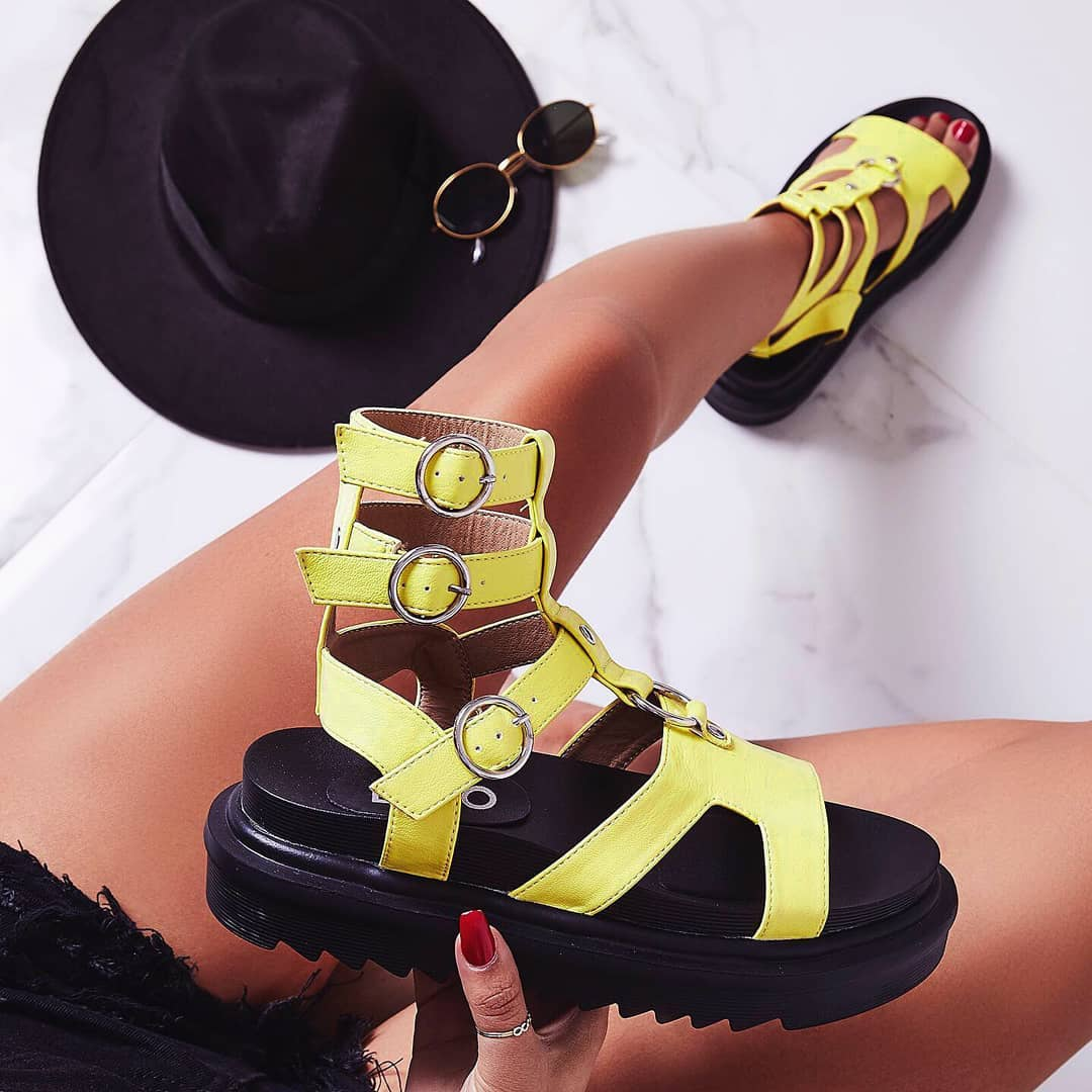 Gladys Chunky Sole Gladiator Sandal In Yellow Faux Leather