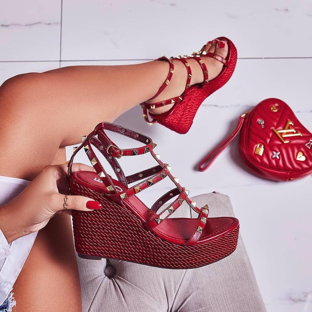 Summer Studded Detail Espadrille Wedge Platform Heel In Red Faux Leather