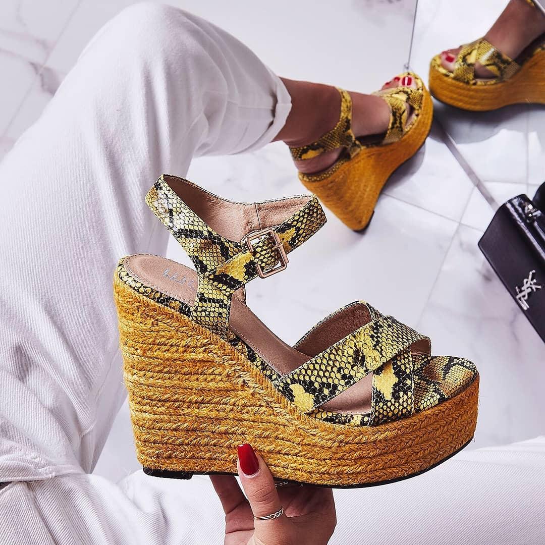 Kadi Espadrille Wedge Platform Heel In Yellow Snake Faux Leather