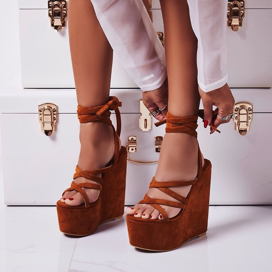 Stripped Lace Up Platform Wedge Heel In Tan Faux Suede