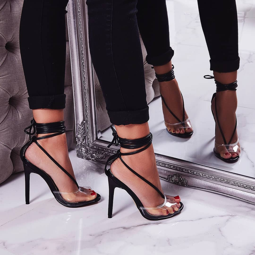 Tinder Lace Up Perspex Heel In Black Faux Leather
