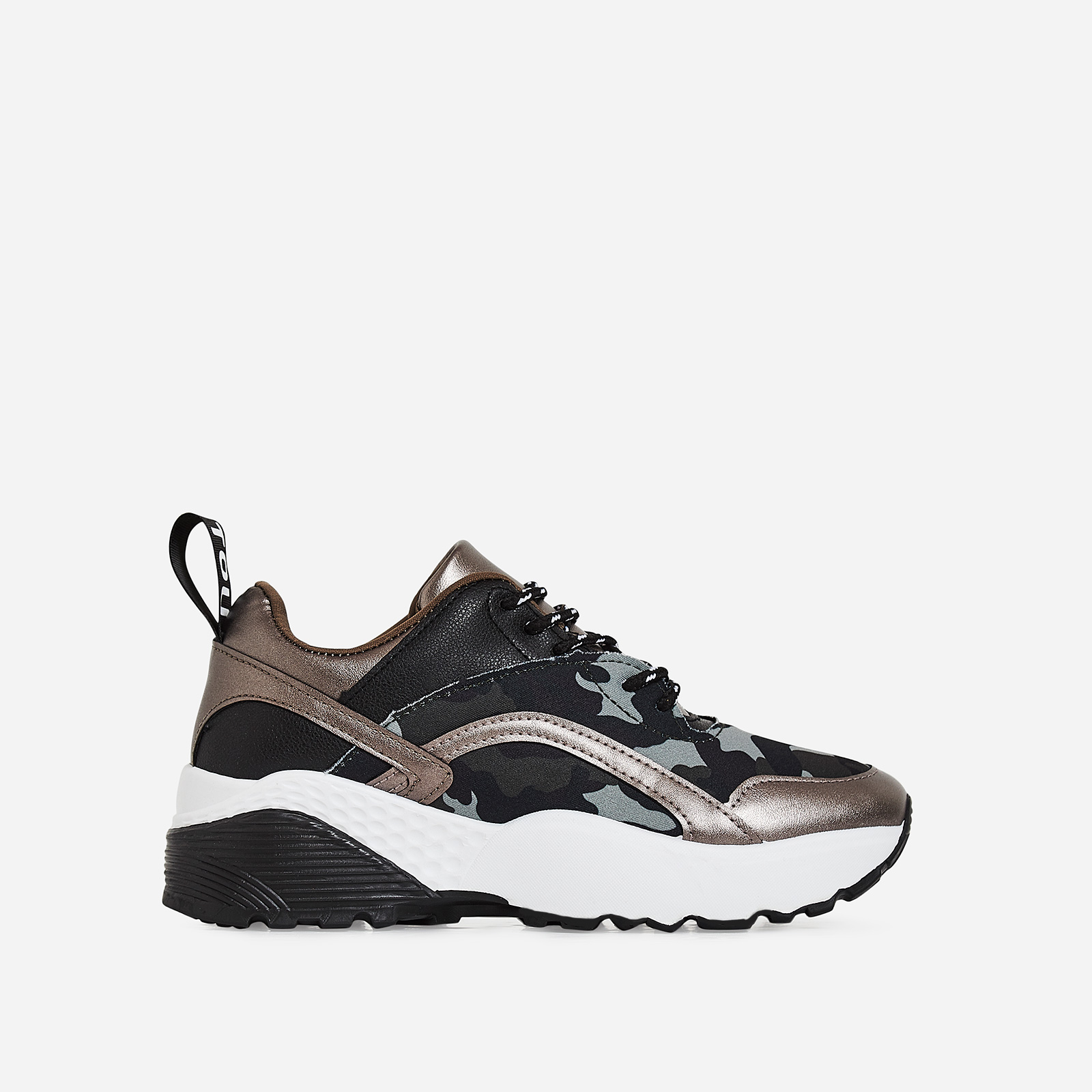Benji Chunky Sole Camouflage Trainer In Gunmetal Faux Leather