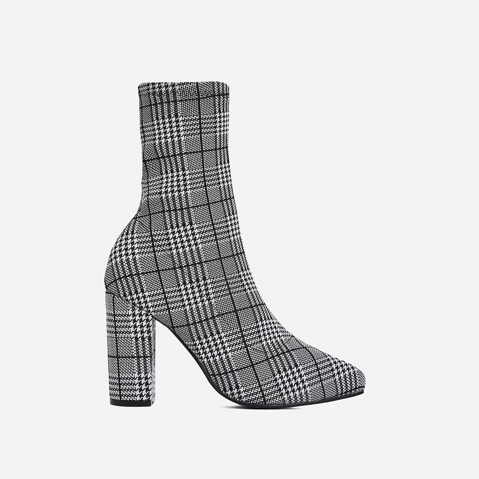Blair Block Heel Ankle Sock Boot In Black Tartan Fabric