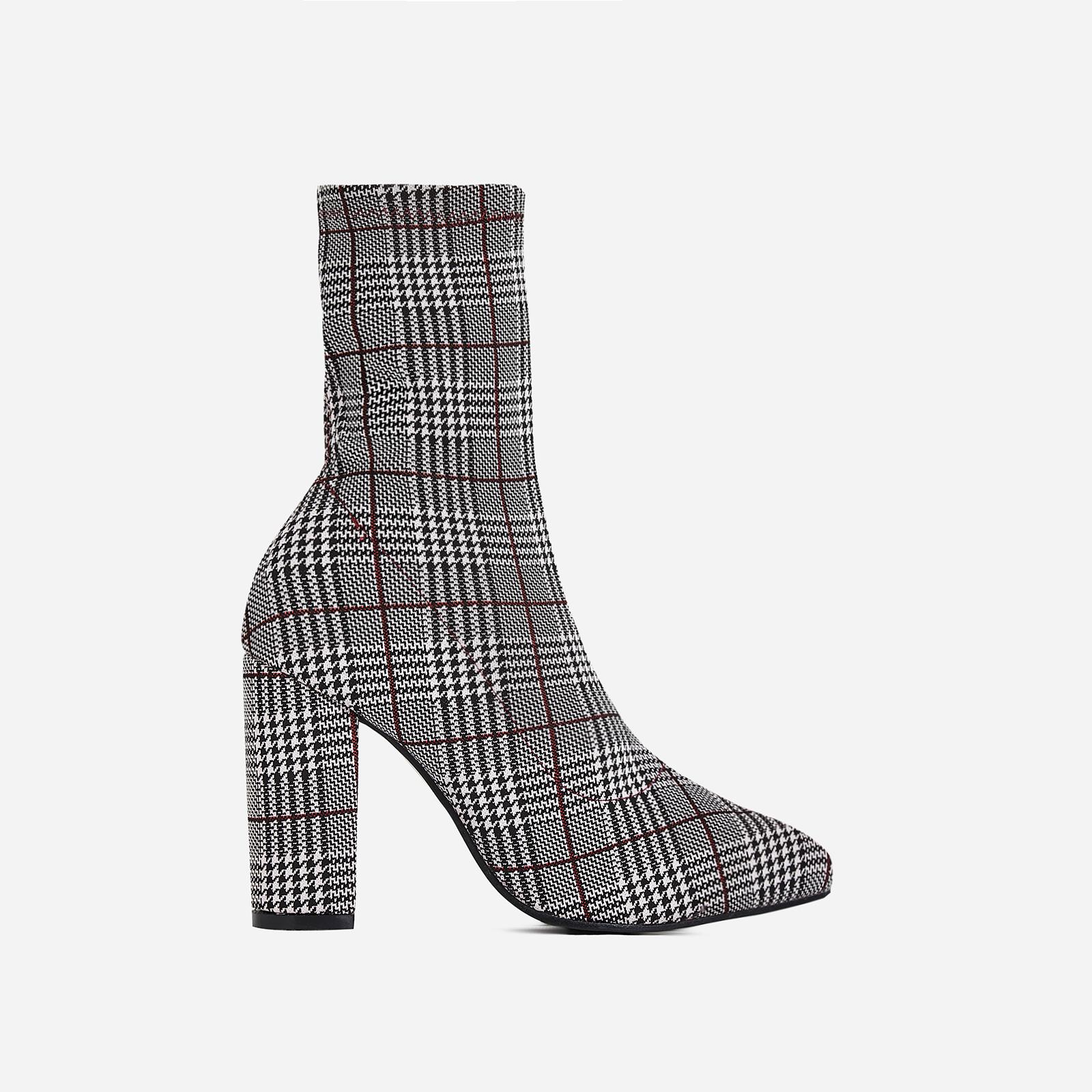Blair Block Heel Ankle Sock Boot In Red Tartan Fabric