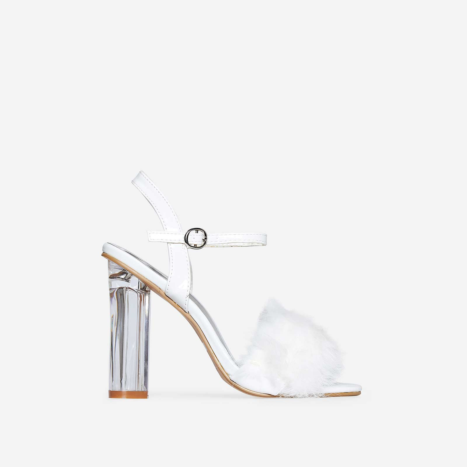 Lou Faux Fur Perspex Heel In White Patent