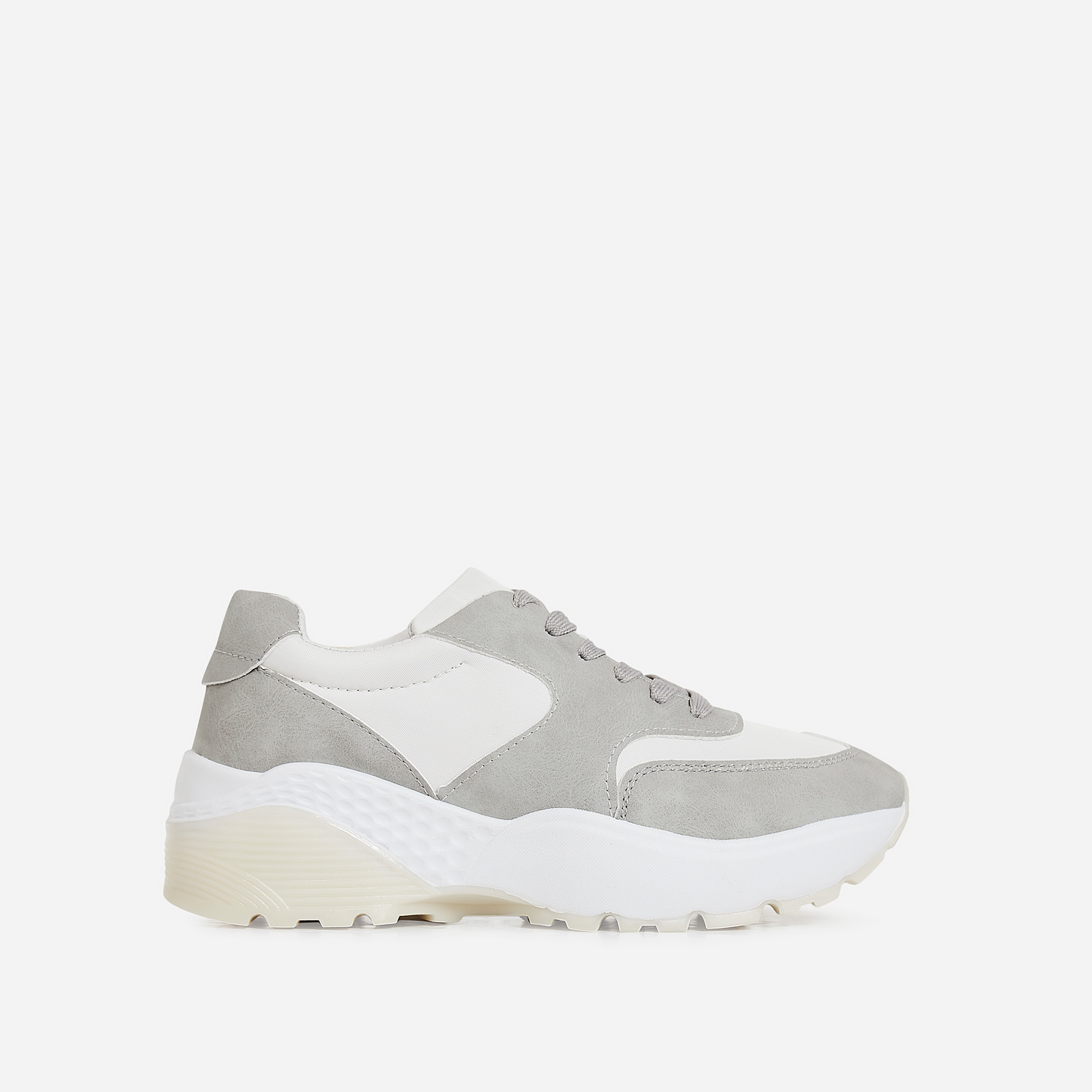 Nia Chunky Sole Trainer In Grey Faux Leather