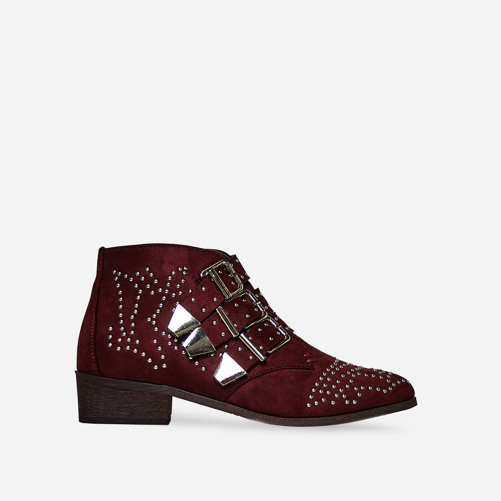 Elba Studded Detail Biker Boot In Burgundy Faux Suede