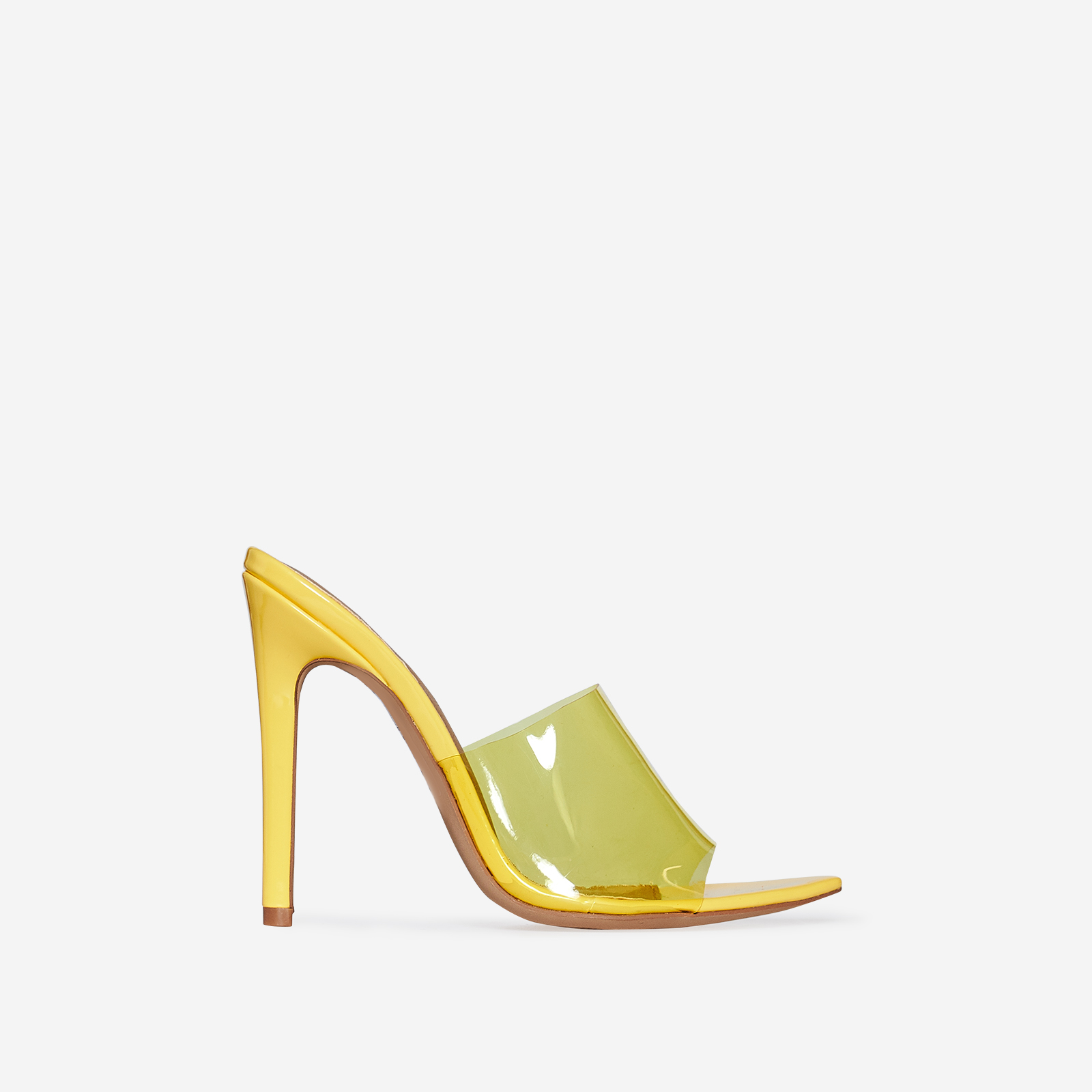 Kilo Perspex Peep Toe Mule In Yellow Patent