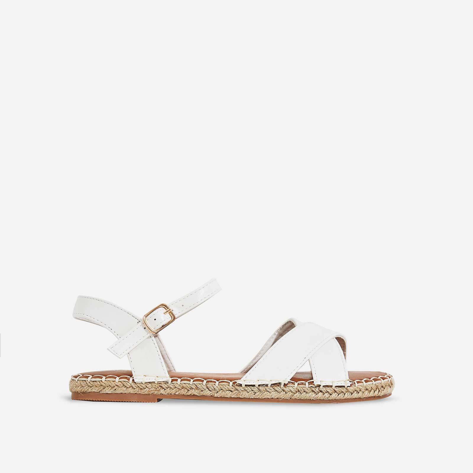 Mirren Espadrille Flat Sandal In White Faux Leather