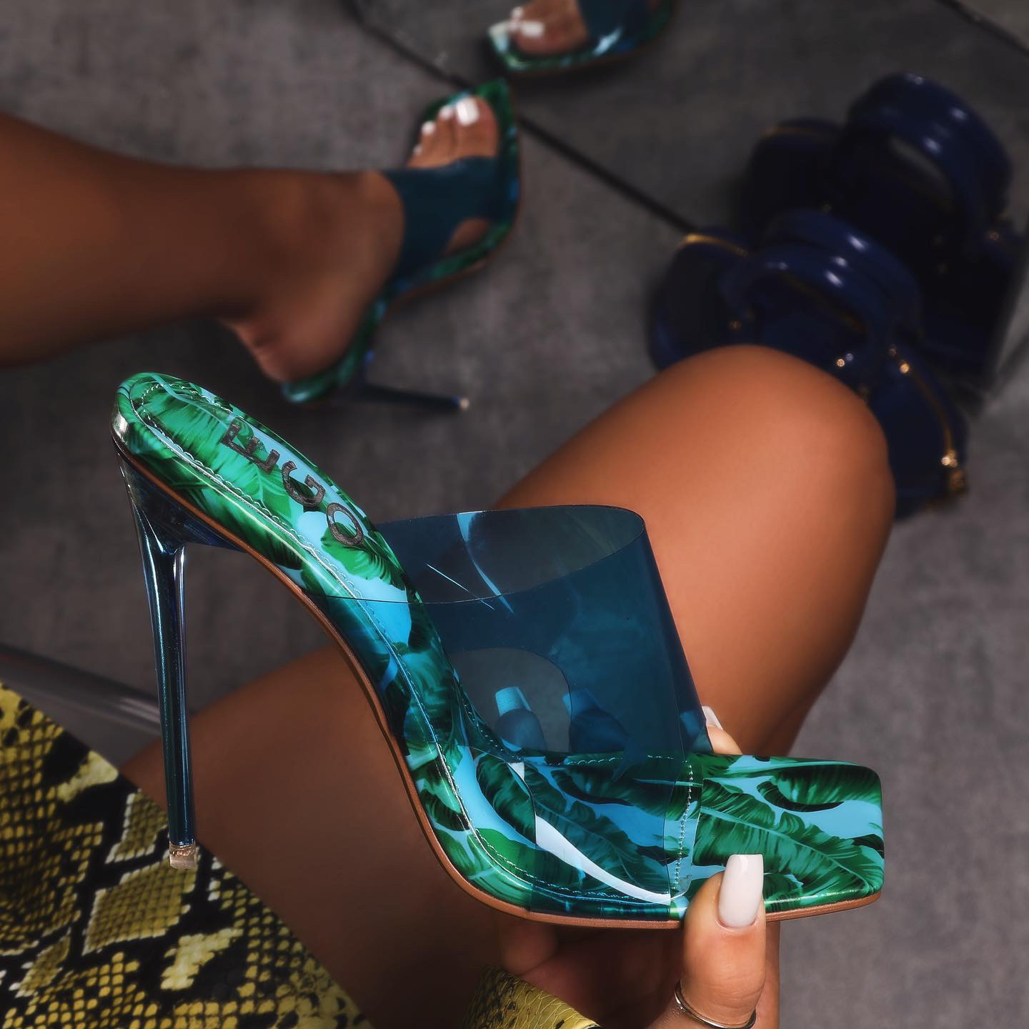 River Blue Clear Perspex Square Peep Toe Heel Mule In Floral Print Patent