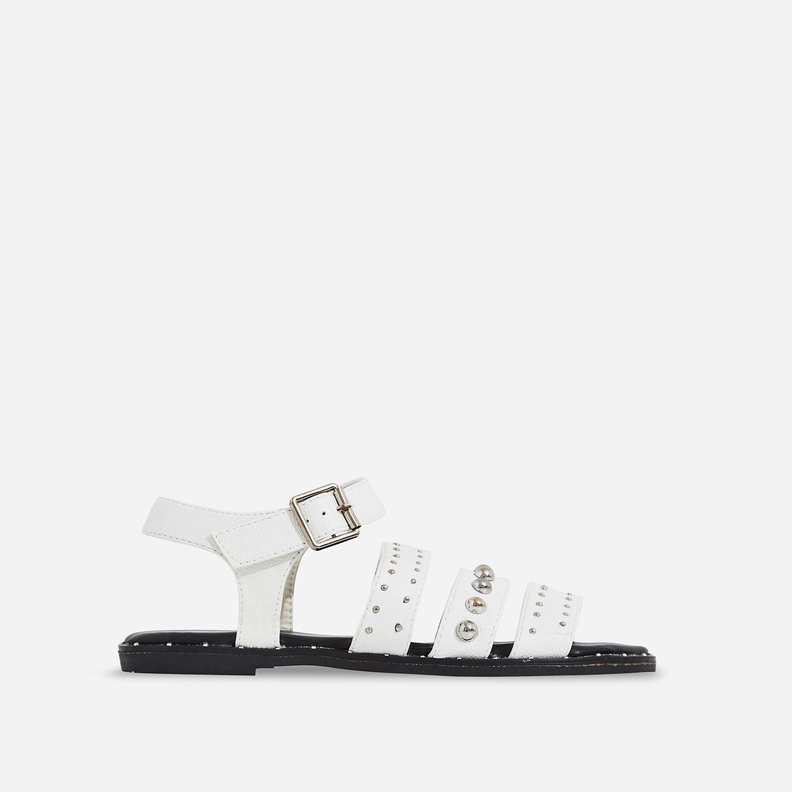 Elara Studded Detail Sandal In White Faux Leather
