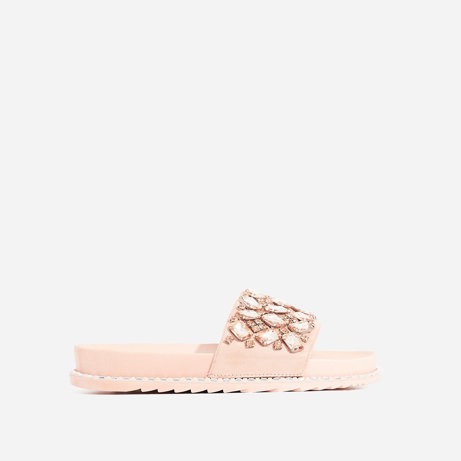 Effie Diamante Detail In Rubber Slider In Pink Faux Suede