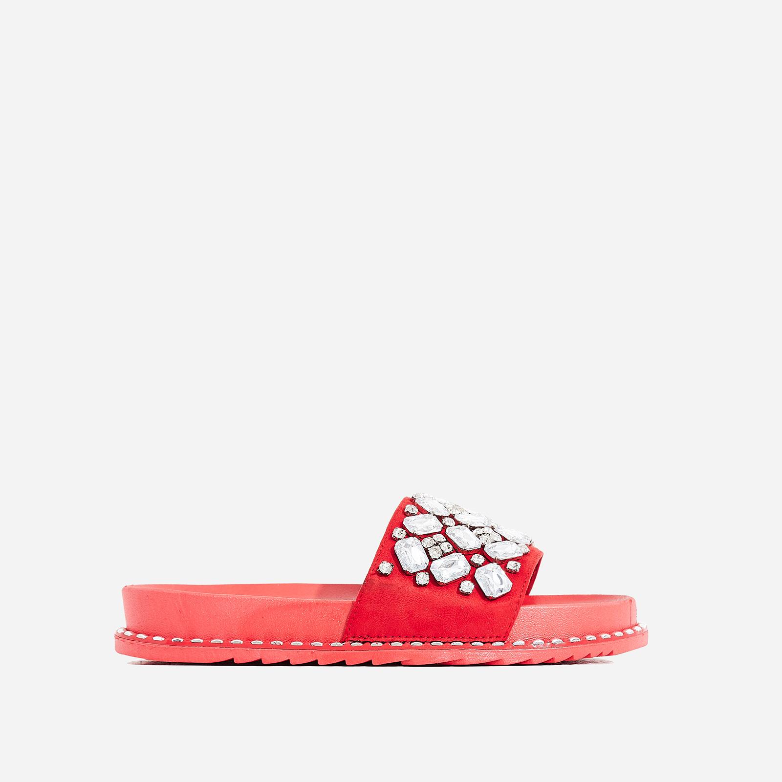 Effie Diamante Detail In Rubber Slider In Red Faux Suede