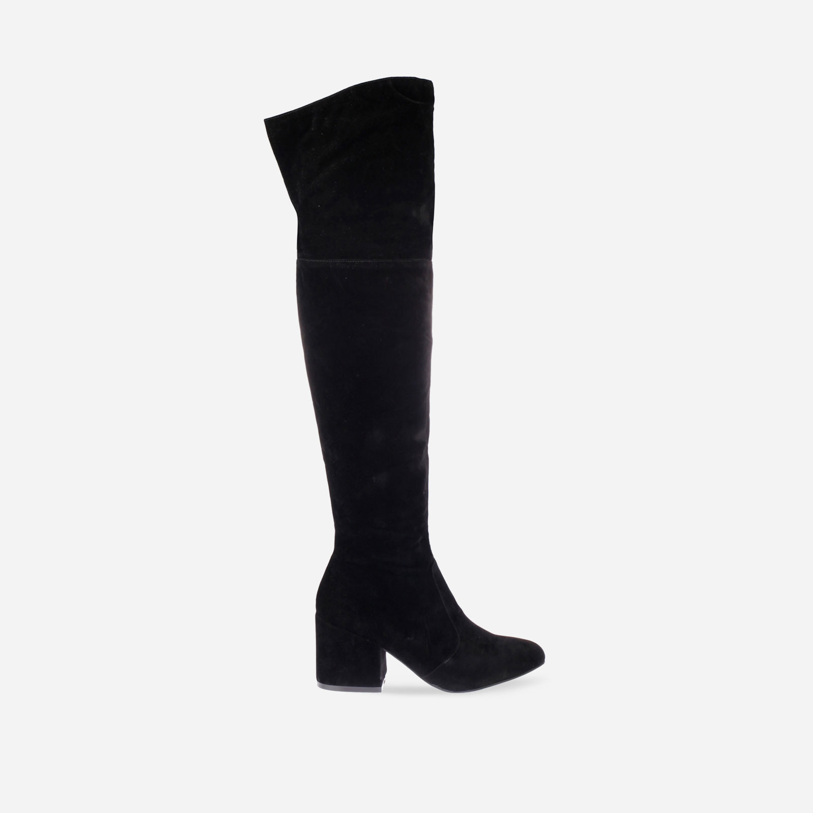 Harmony Over The Knee Boot With Midi Heel In Black Faux Suede Image 1