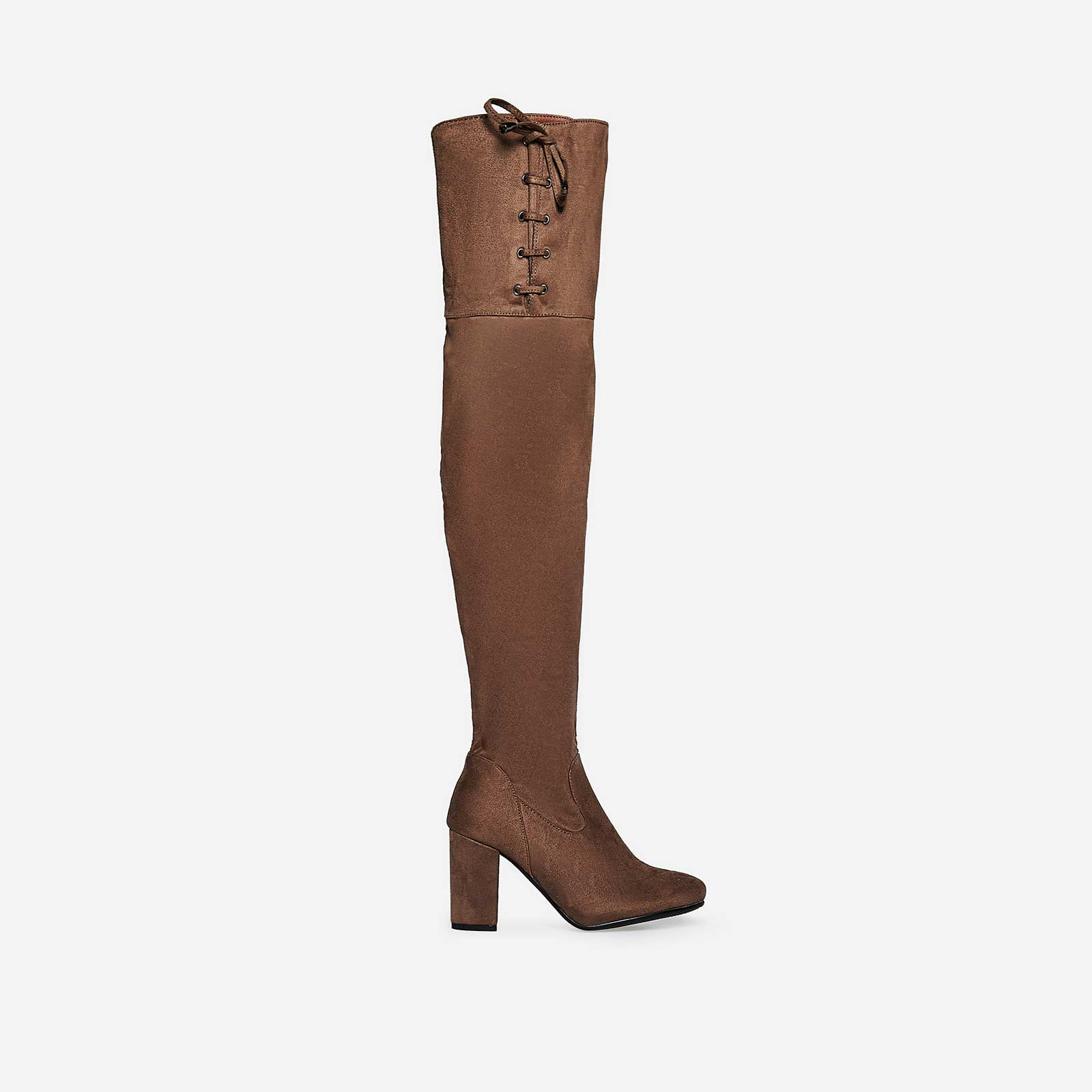 Bristol Thigh High Long Boot In Khaki Faux Suede