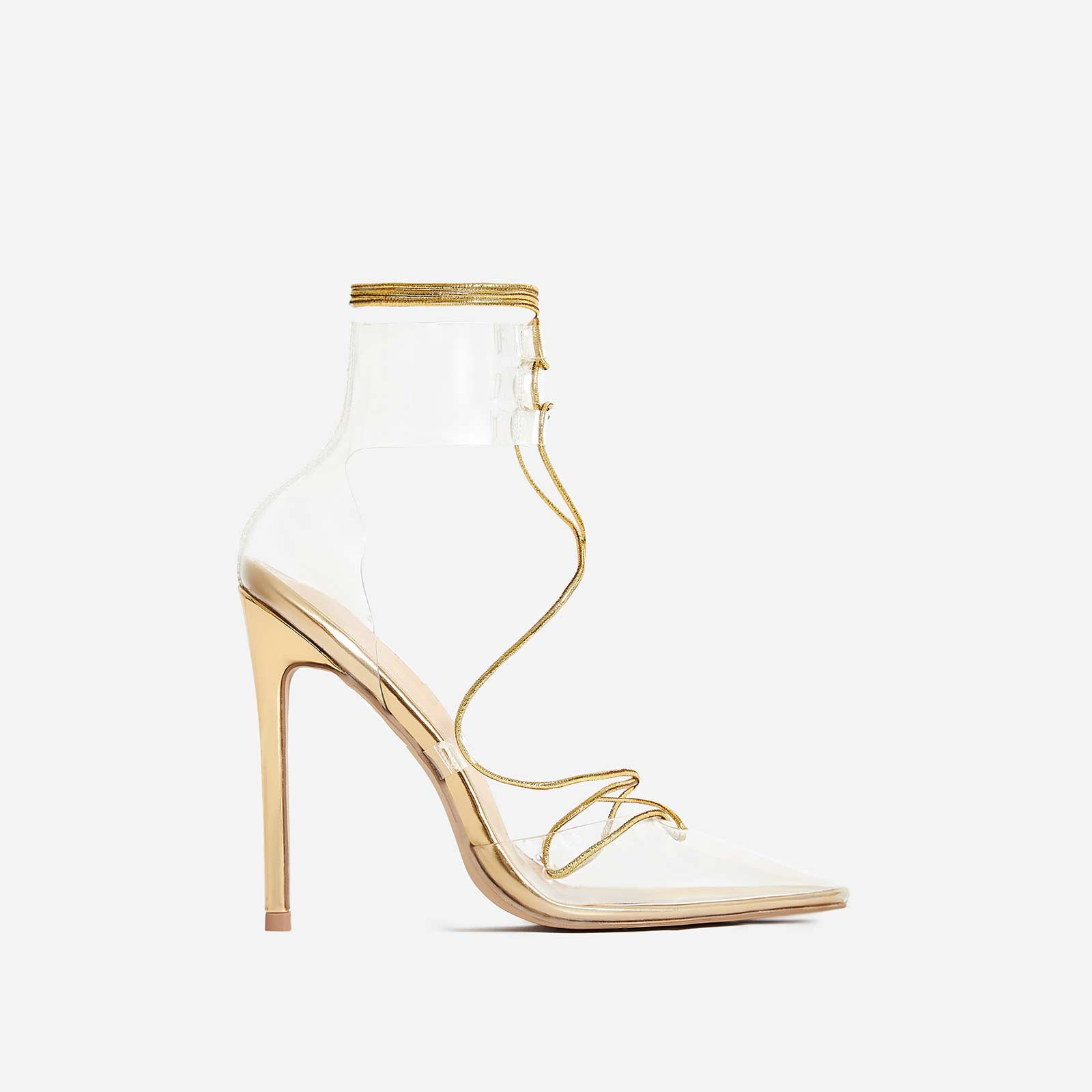 Actress Lace Up Perspex Heel In Gold Faux Leather