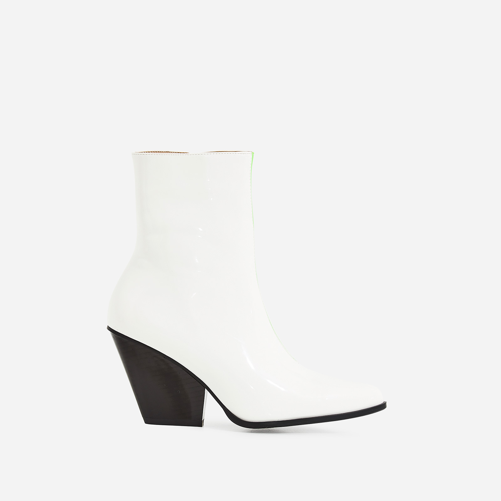 Alba Western Ankle Boot In White Patent