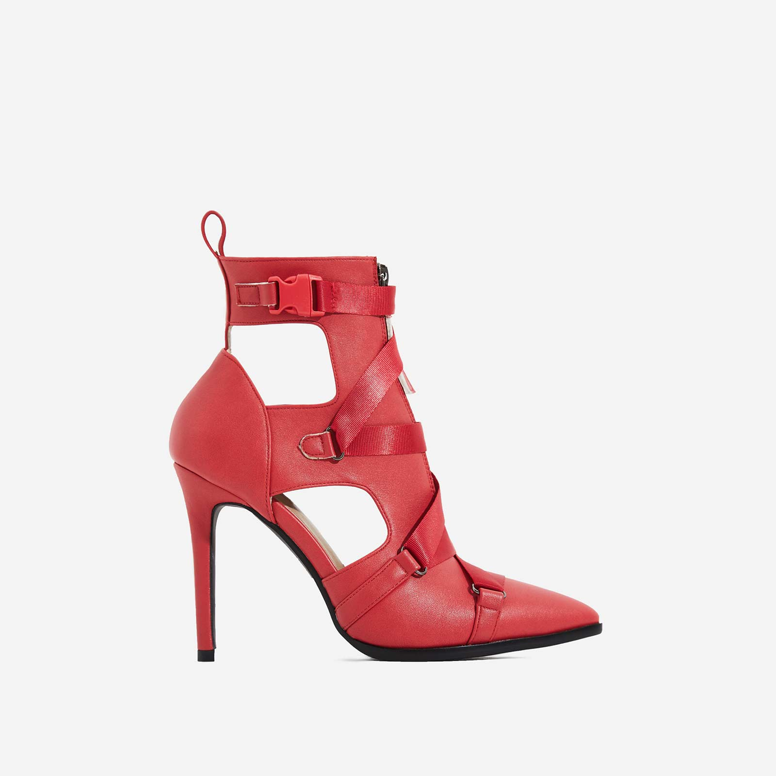 Alessia Strap Detail Ankle Boot In Red Faux Leather