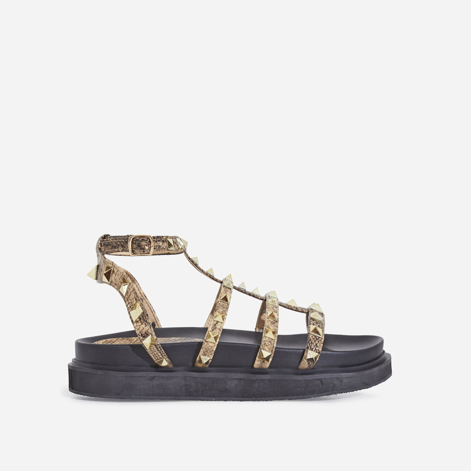Alexandra Studded Detail Chunky Sole Sandal In Nude Snake Print Faux Leather