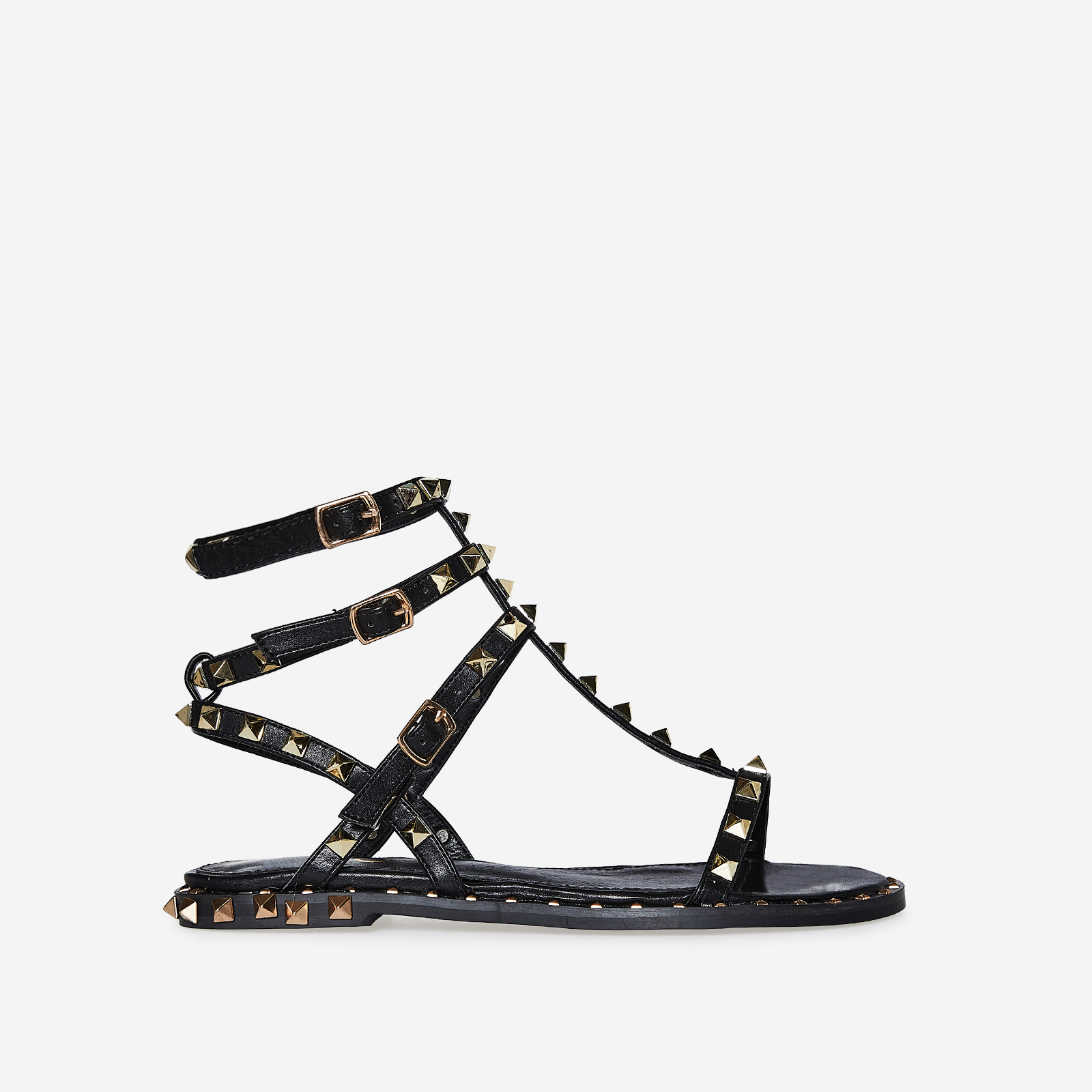 Alfie Gold Studded Detail Gladiator Sandal In Black Faux Leather