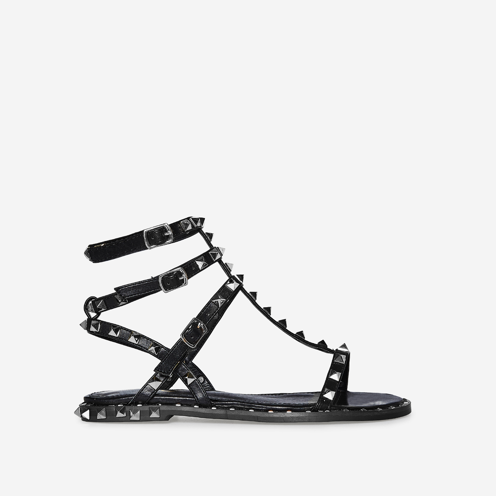 Alfie Silver Studded Detail Gladiator Sandal In Black Faux Leather