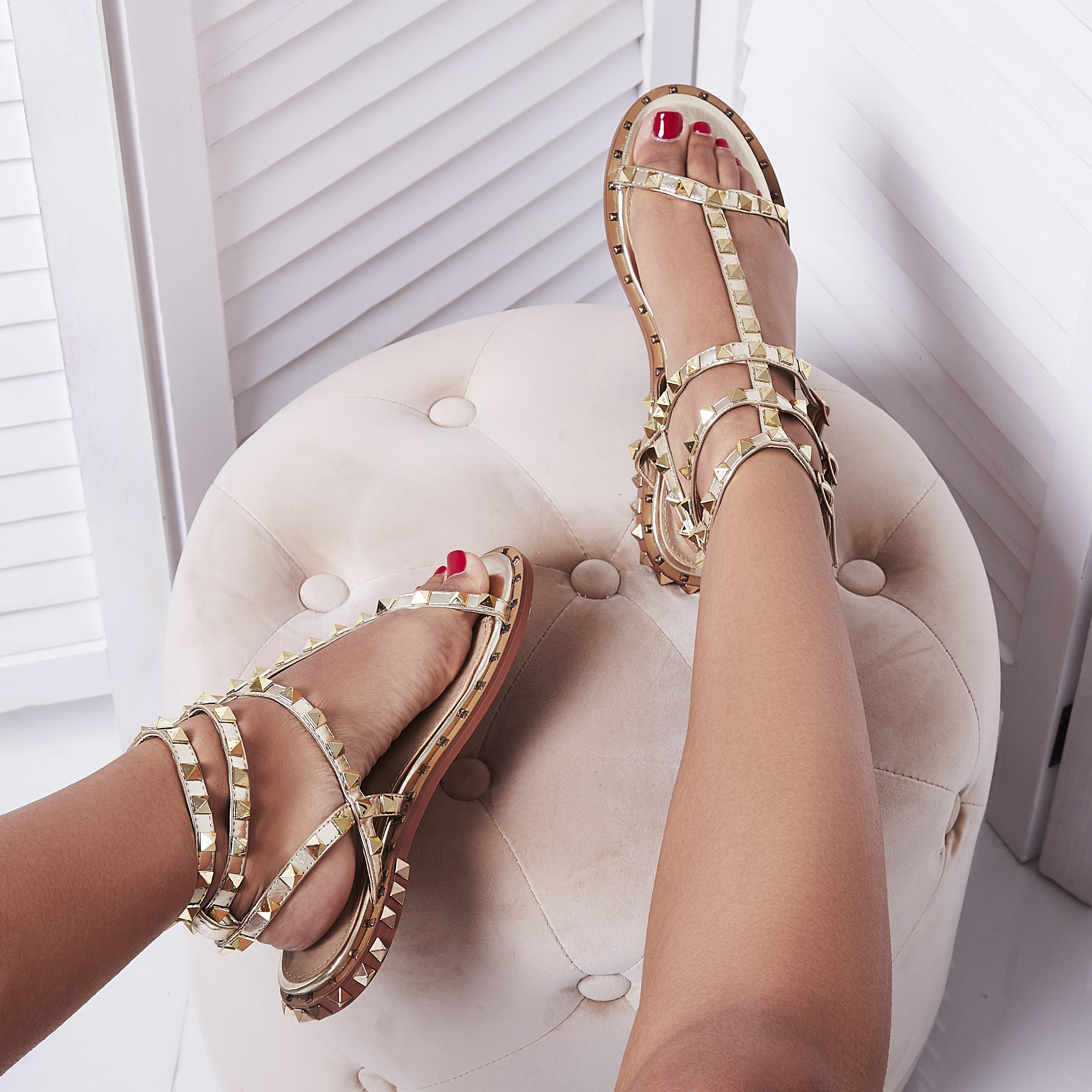 Alfie Silver Studded Detail Gladiator Sandal In Rose Gold Faux Leather