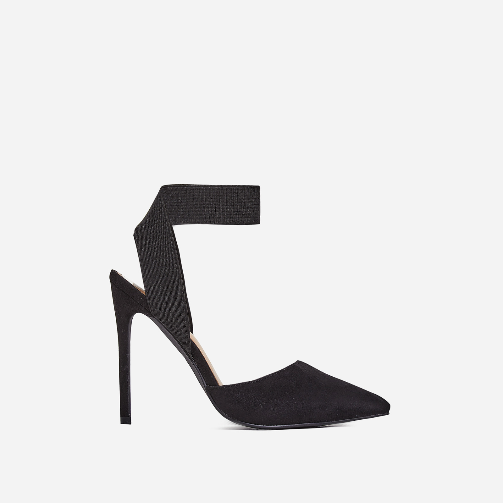 Alina Elasticated Court Heel In Black Faux Suede