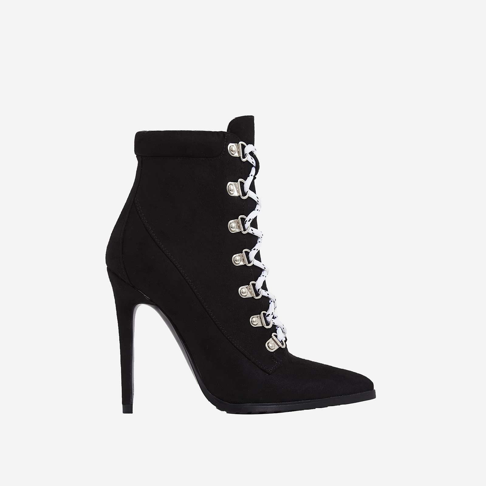 Alisha Pointed White Lace Up Ankle Boot In Black Faux Suede
