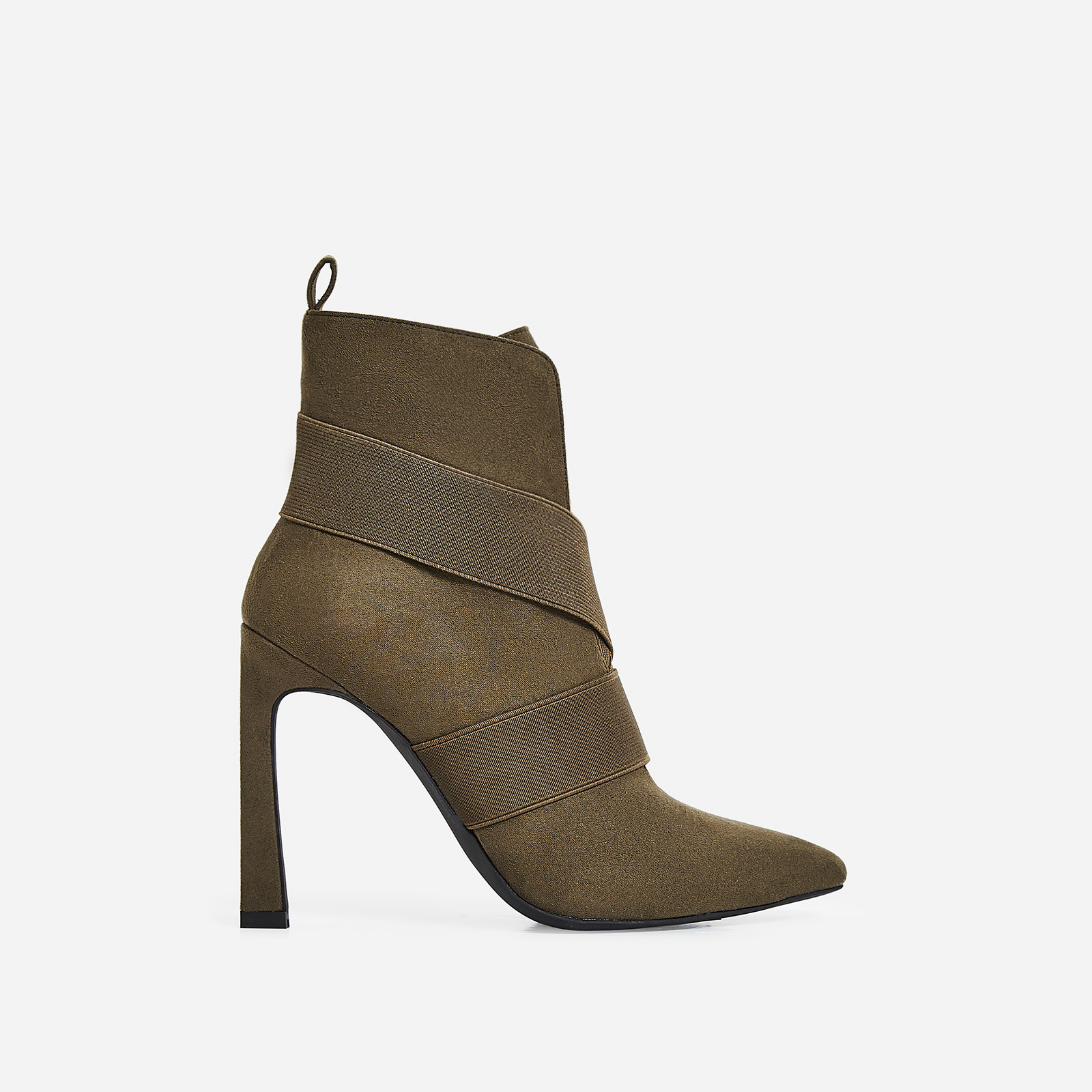 Alison Elasticated Cross Over Ankle Boot In Khaki Faux Suede