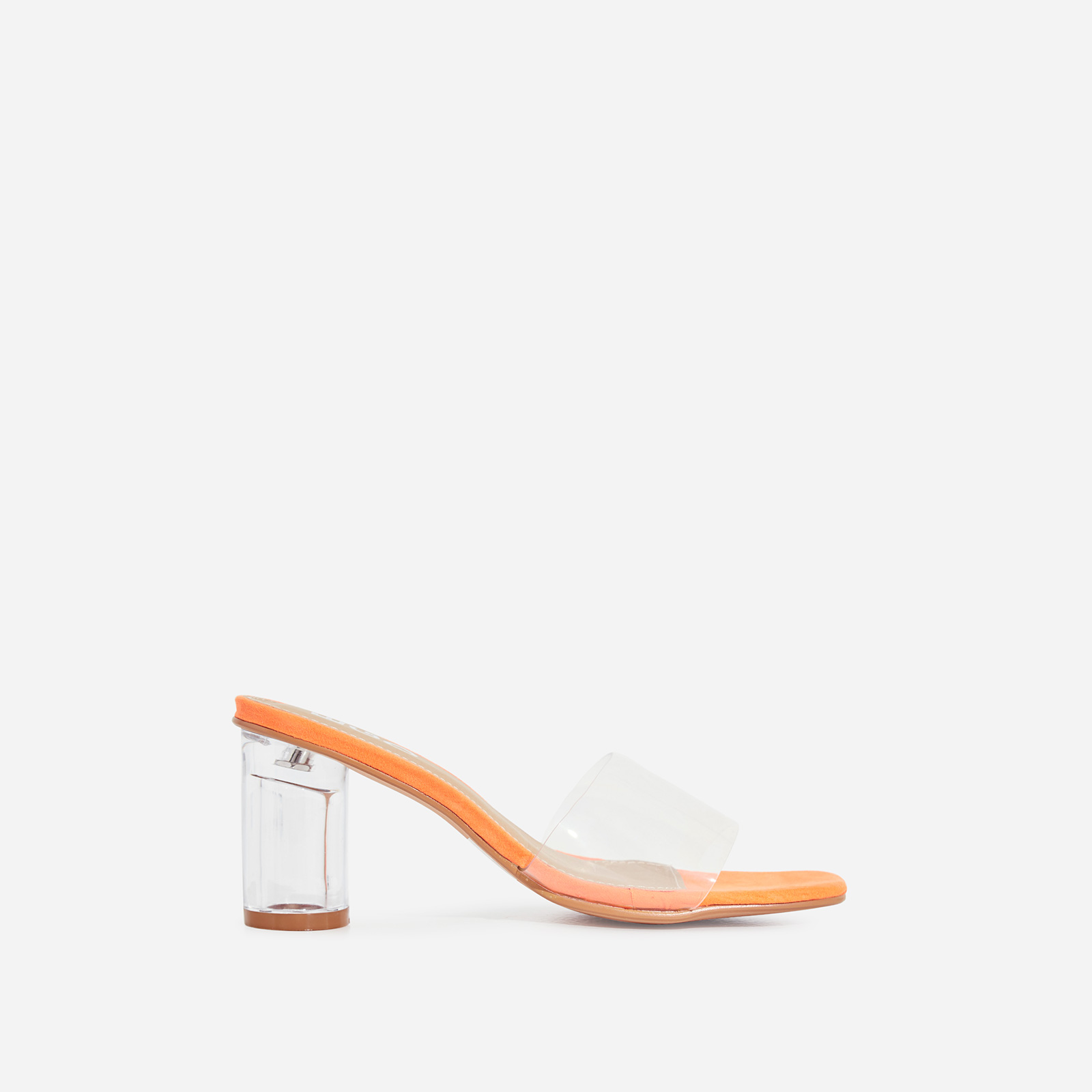 Alva Perspex Square Peep Toe Midi Block Heel Mule In Orange Faux Suede