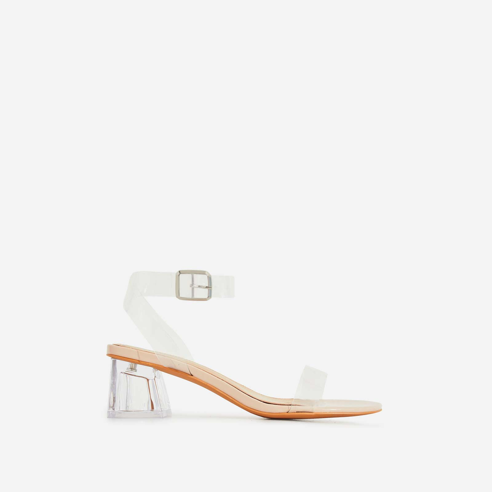 Alya Barely There Perspex Mid Block Heel In Nude Patent