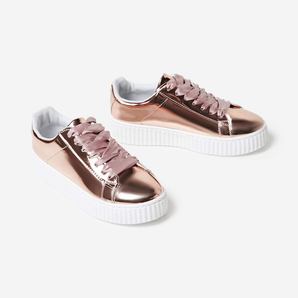 Cece Lace Up Creeper Trainer In Rold Gold Faux Leather Image 1