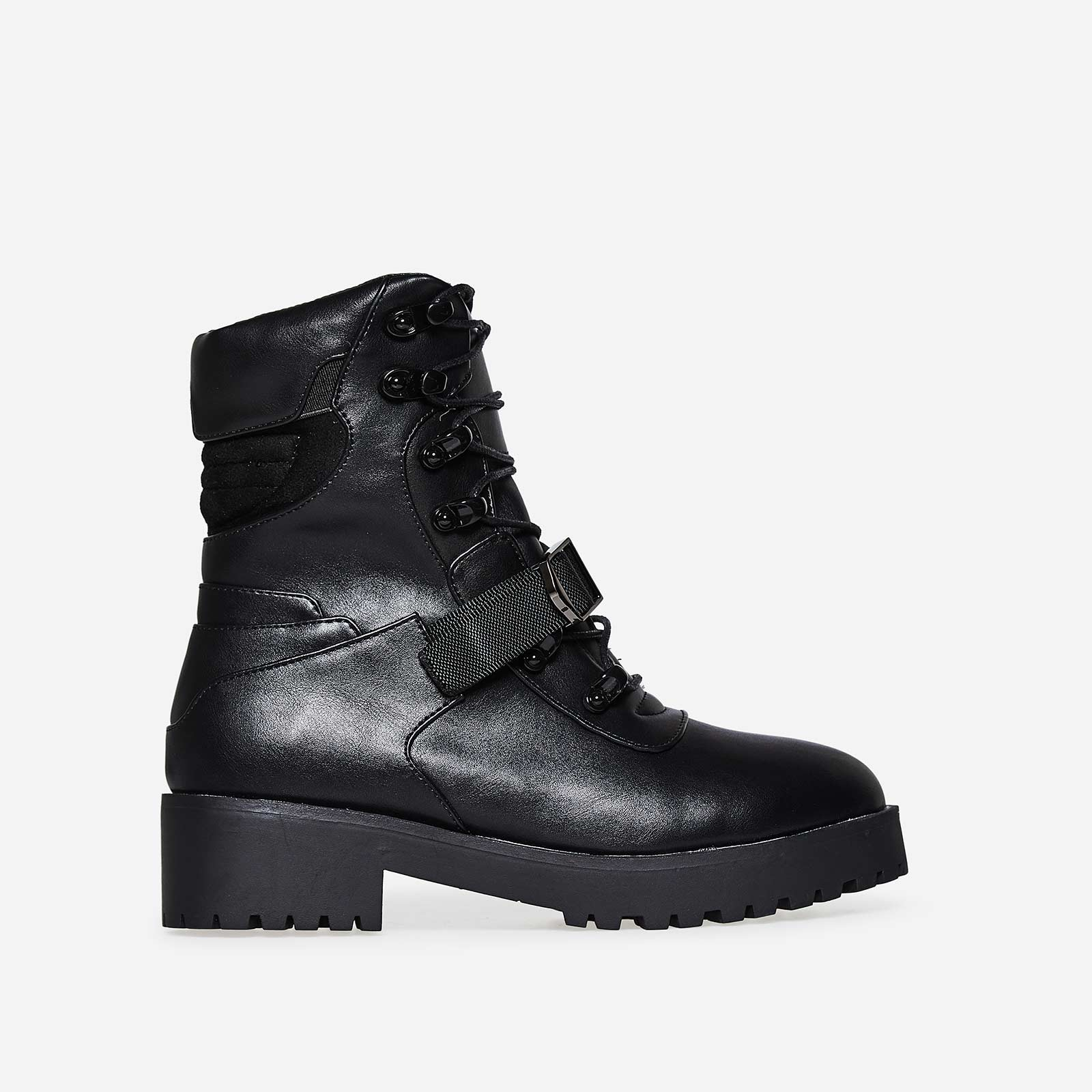 Amiri Buckle Detail Lace Up Biker Boot In Black Faux Leather