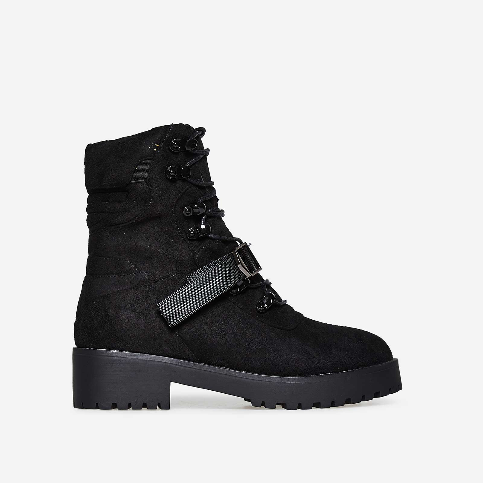 Amiri Buckle Detail Lace Up Biker Boot In Black Faux Suede