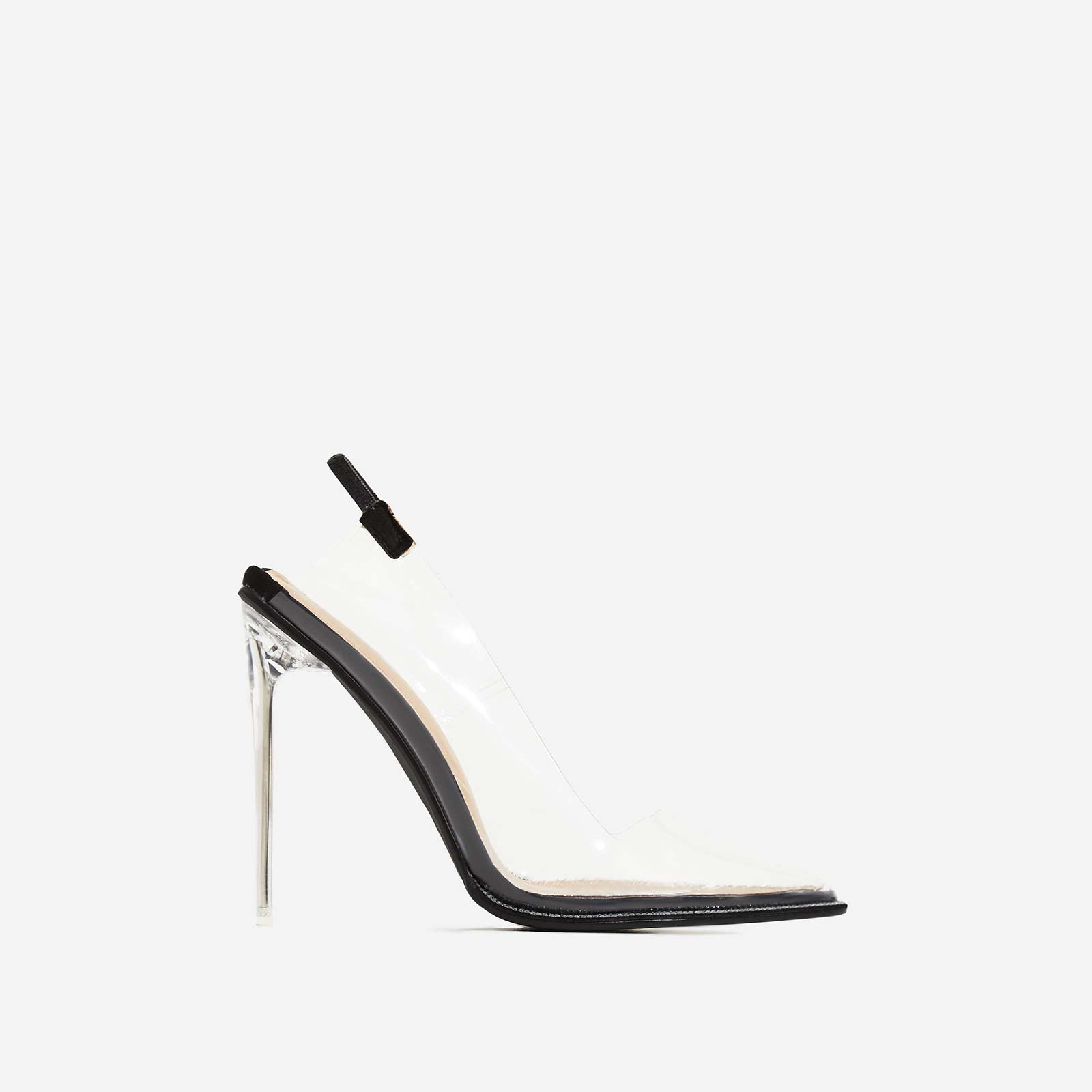 Amor Perspex Diamante Detail Heel In Black Faux Suede